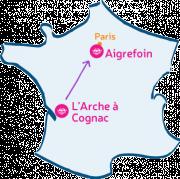 L'Arche à Cognac va à L'Arche d'Aigrefoin, près de Versailles.