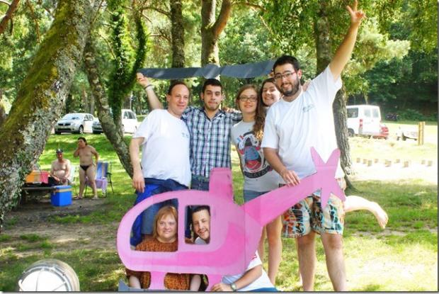 M'Arche virtuelle en hélicoptère : Frédérique et Thomas, Yannick, Liam, Lena, Alice et Lilian