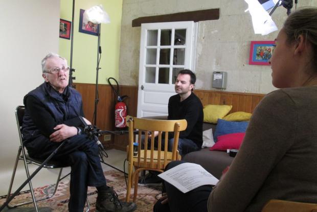 Jean-Pierre, Ghislain et Clémence lors du tournage